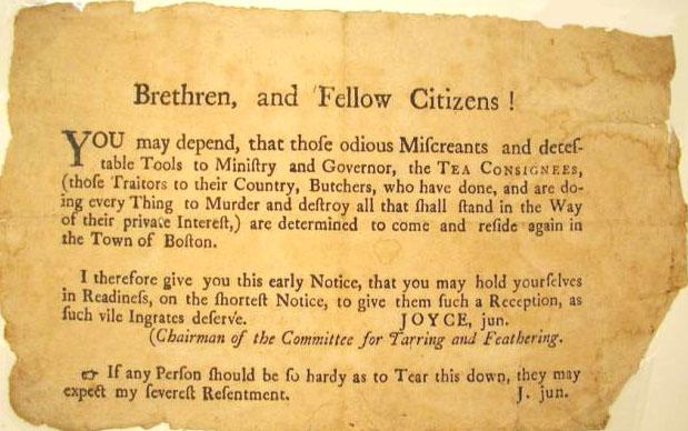 Boston Tea Party Joyce Notice