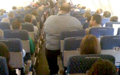 Obese airplane passenger